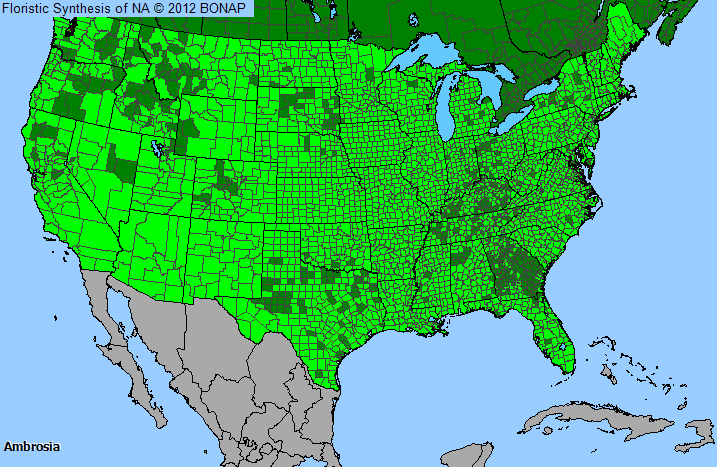 the shaded areas on the map indicates where the genus has been observed in the united states